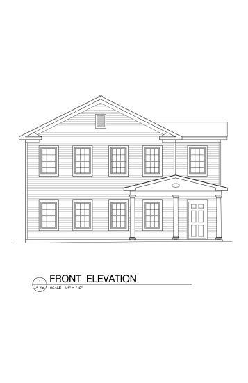 Cobleskill Front Elevation-Black Line